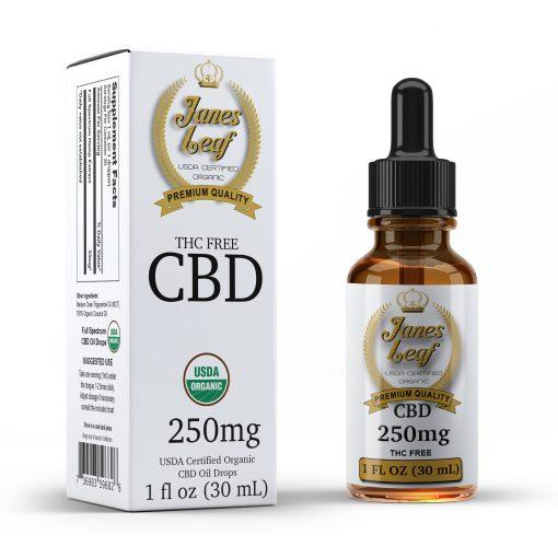 Janes Leaf CBD 250mg THC free bottle