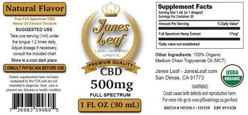 Janes Leaf CBD 500mg Bottle