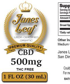 Janes Leaf CBD 500mg THC free label